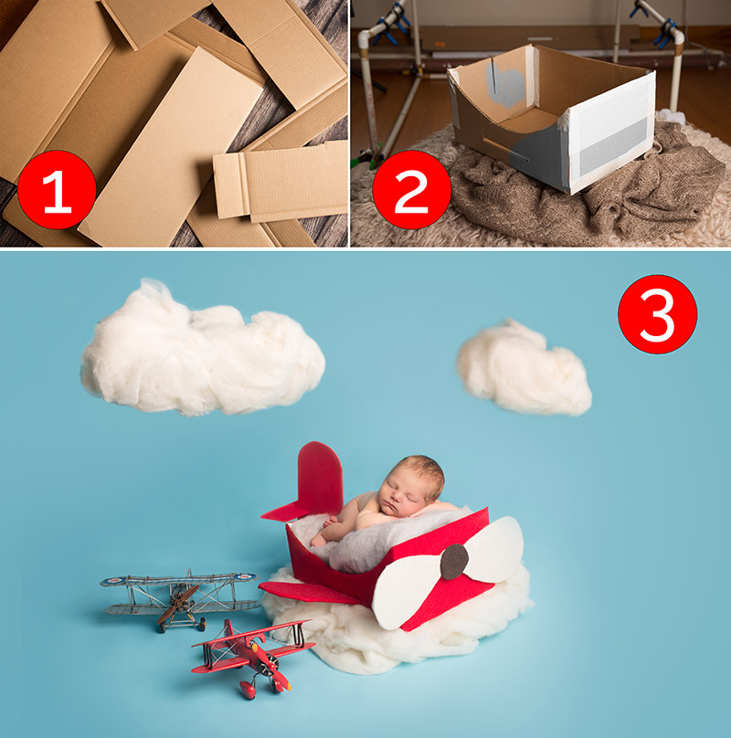 newborn photography airplane props
