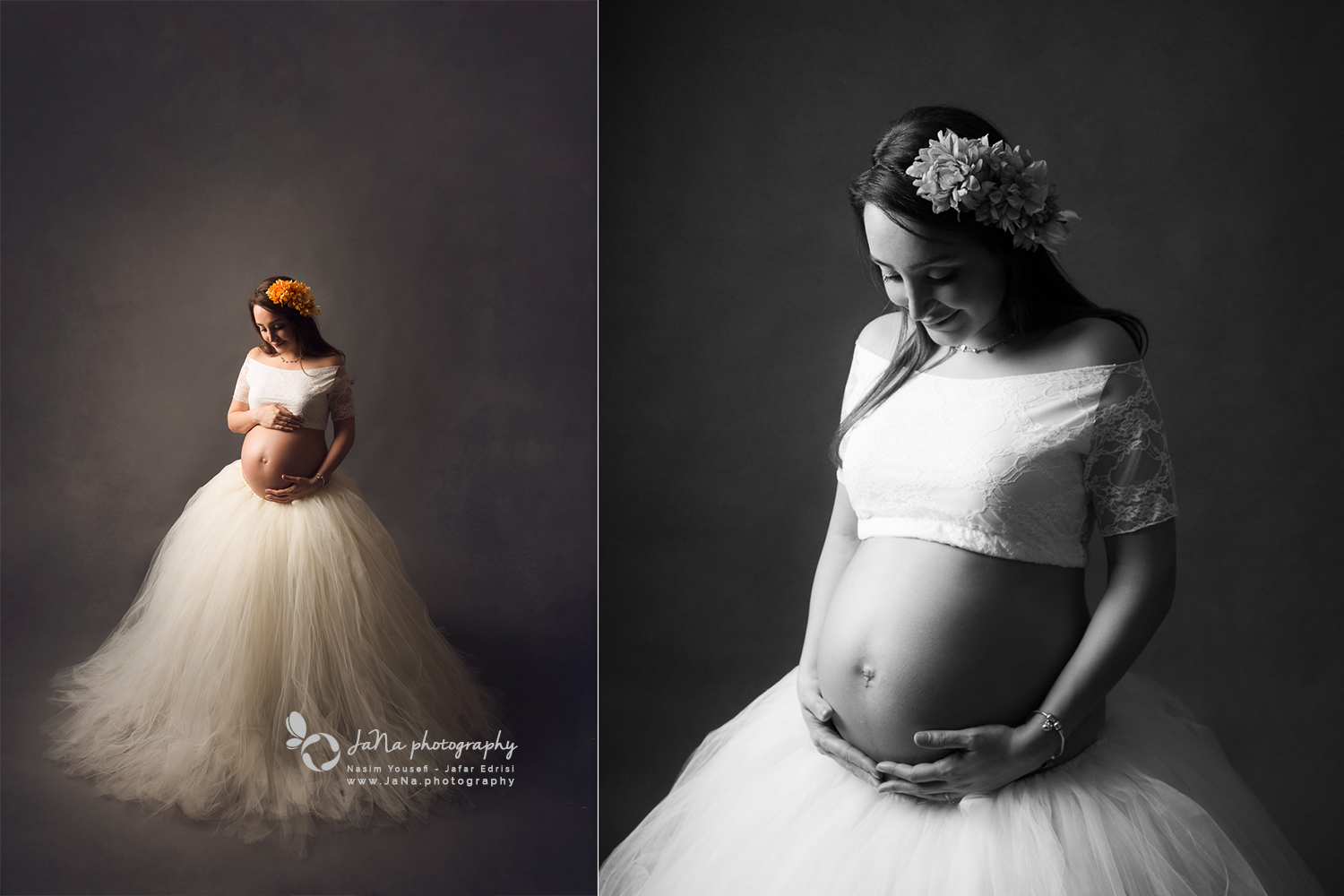 maternity photos of a solo mom in black and white and color - white tutu