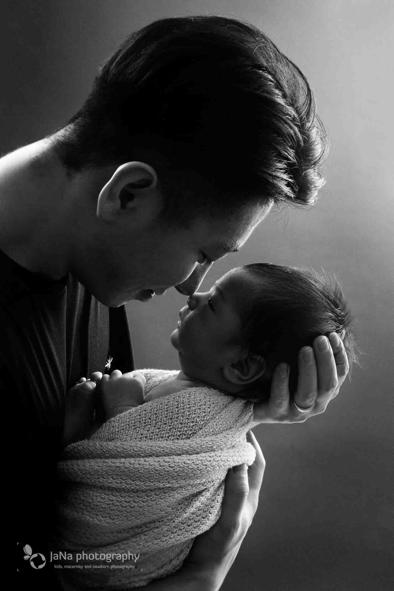 Richmond newborn photography | Tayden - dad and newborn - black and white