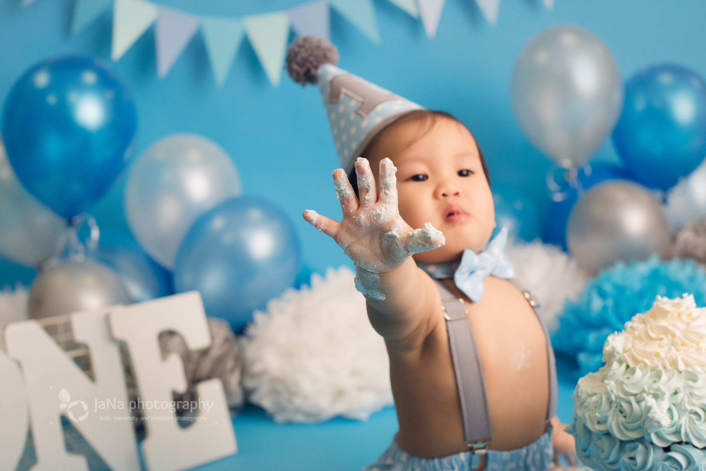 Vancouver cake smash photography one year old baby boy