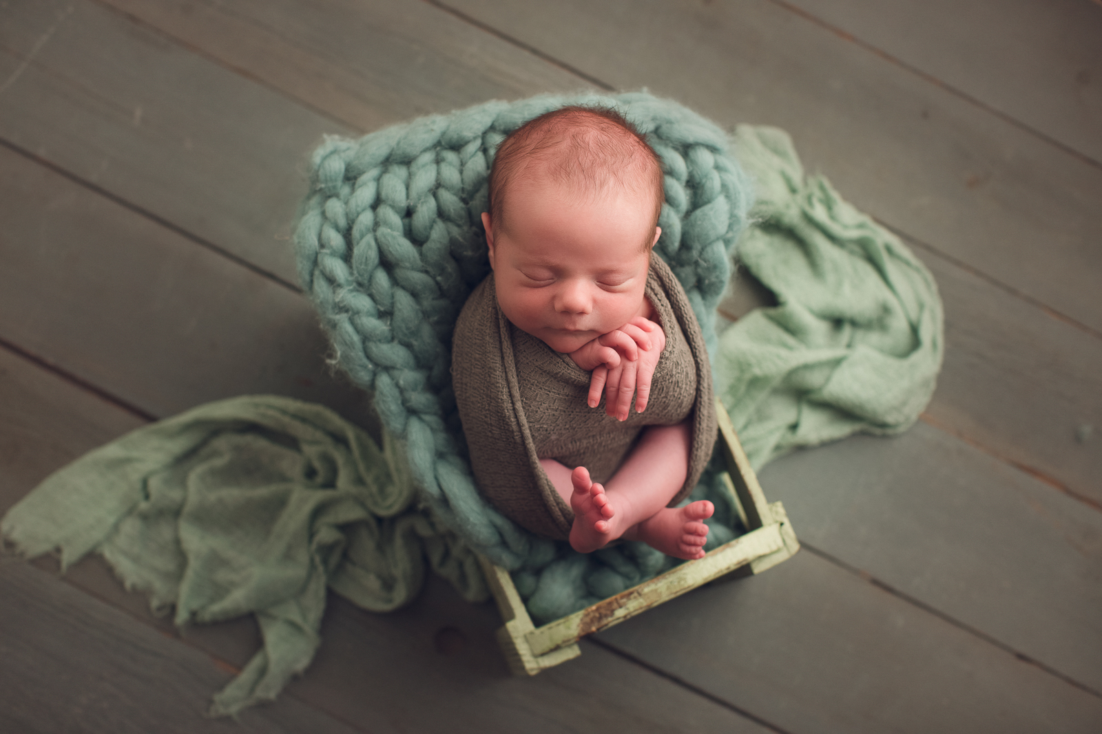 vancouver burnaby newborn photography - luca - green bed