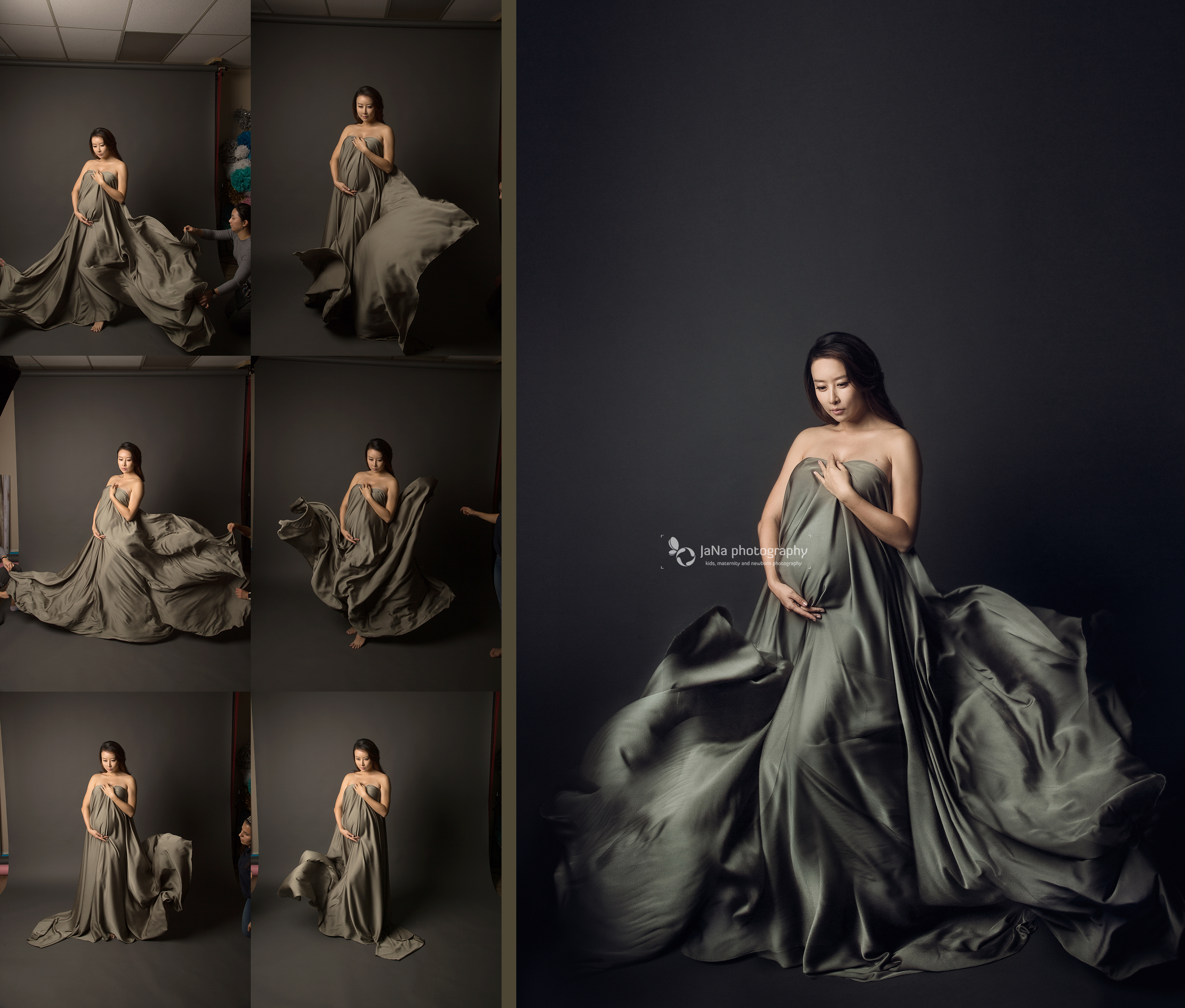 Maternity photography fabric blowing backstage