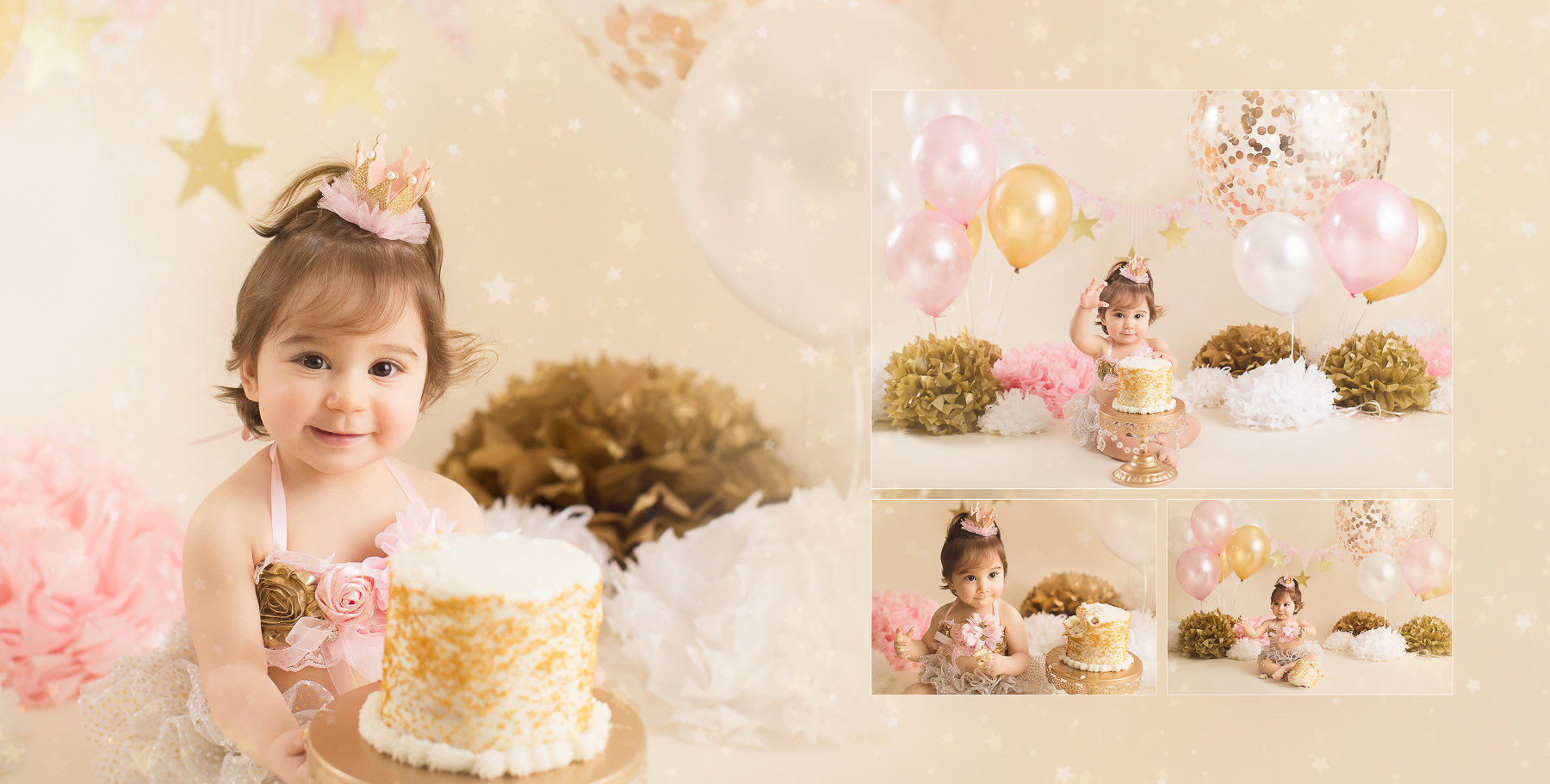 cake smash photography gold theme - girl