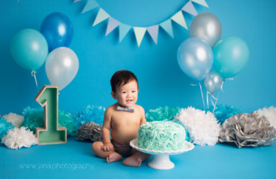 cake smash - baby photography - blue setup