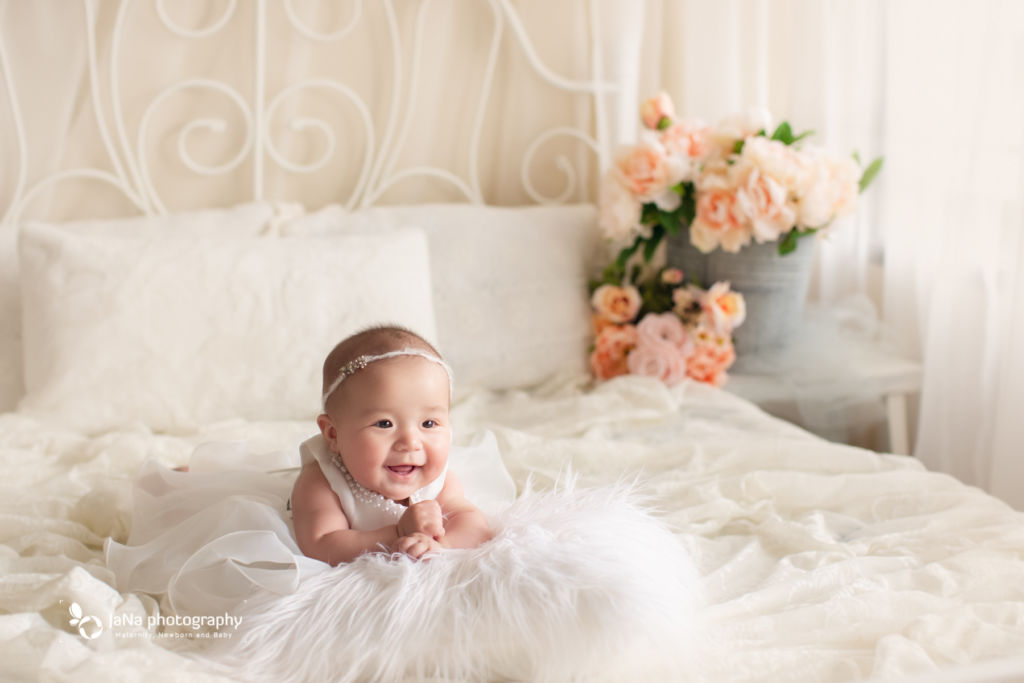 Vancouver baby girl photography - white background - smile
