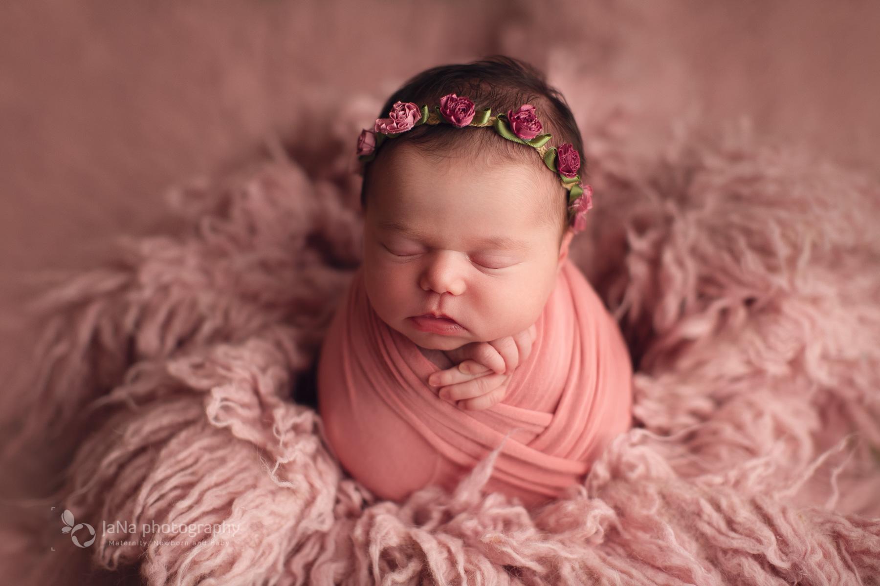 newborn girl photography vancouver - pink setup