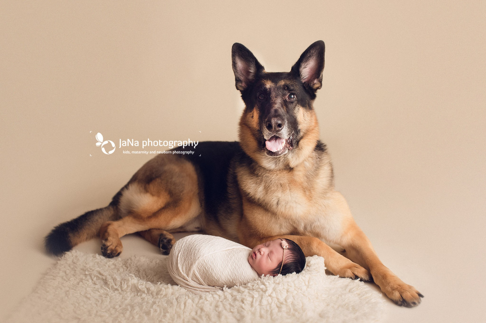 german shepherd and newborn baby girl | jana photography Vancouver BC