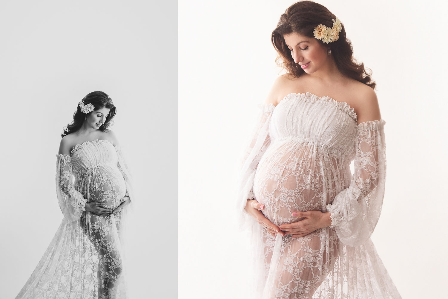 picture of pregnant mom in white lace maternity gown with beautiful sleeves and floral hair accessories