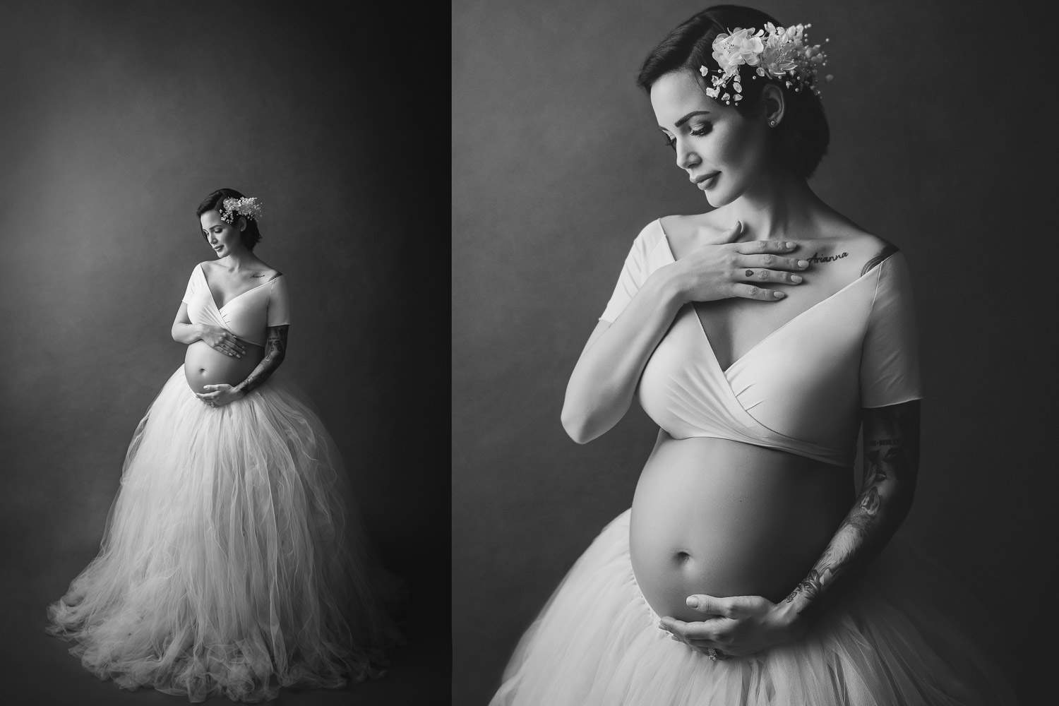 glamorous pregnancy photo with skirt tutu with maternity photography vancouver