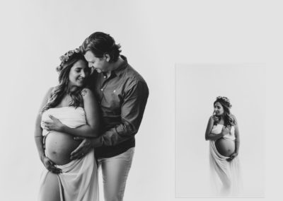 lovely-pregnant-couple-black-white-studio-silhouette