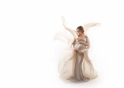 maternity photography with a white gown