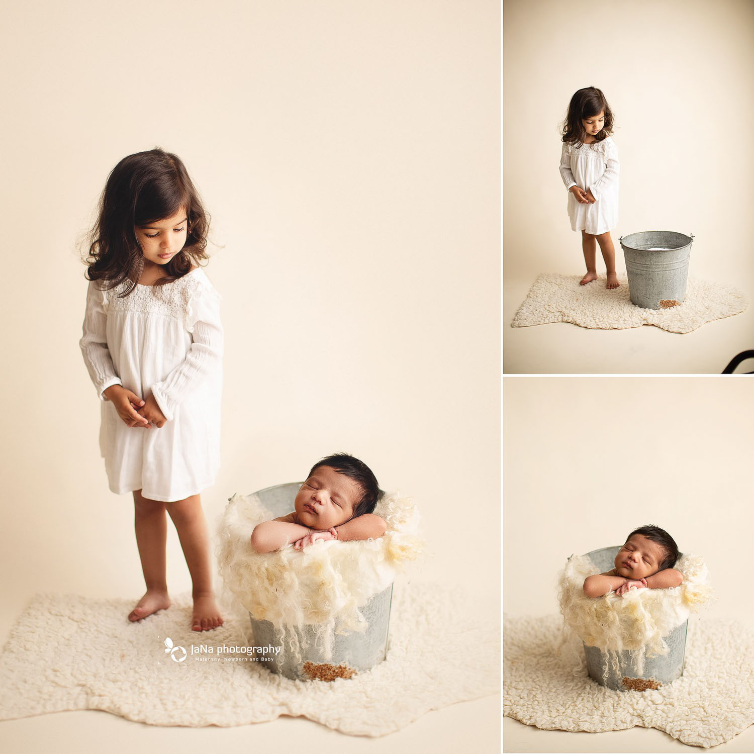 newborn photography in a bucket with sibling - photoshop - safety