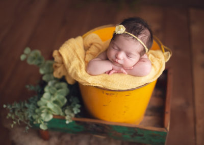 baby girl in yellow bucket | jana newborn photography