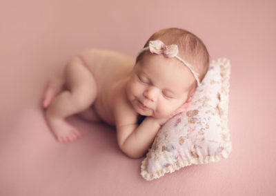 newborn baby girl photography vancouver - pink background