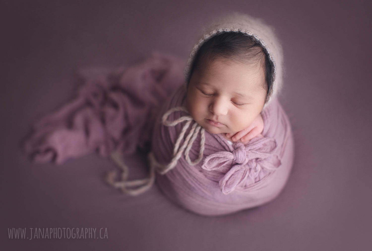 alana newborn photography - baby girl- pink and purple setup - wrap and hat