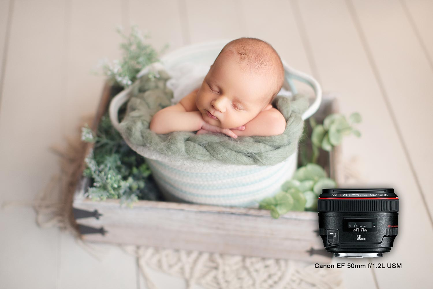 canon 50mm lens is the best for newborn photography - baby on a white bucket - Vancouver