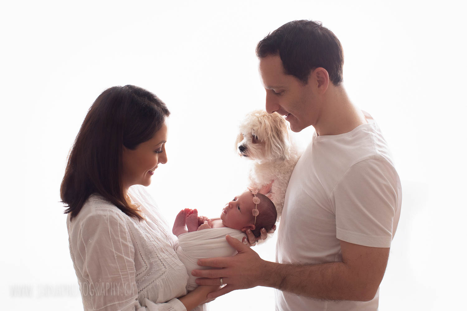 family picture with a dog and newborn baby girl - jana photography vancouver