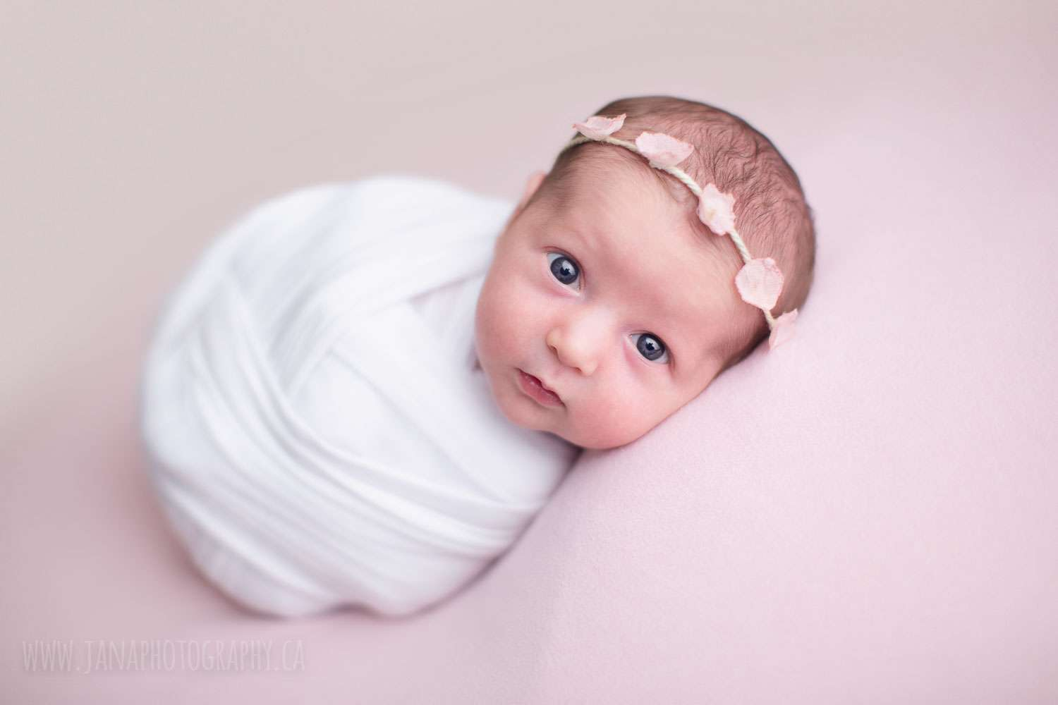 newborn baby girl - open eye - pink - vancouver - jana photography