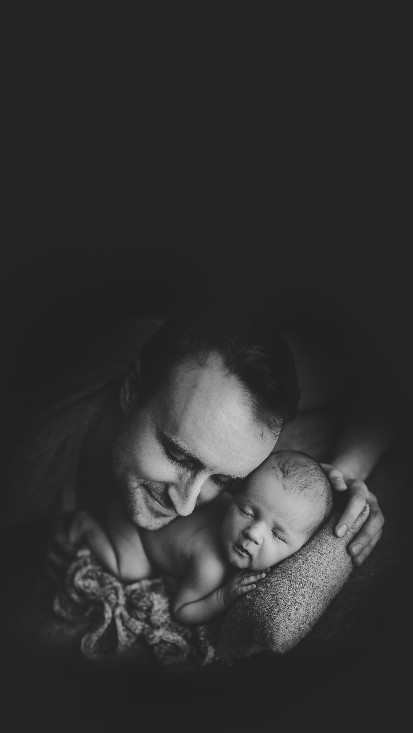 dad and newborn baby boy - black and white - jana photography