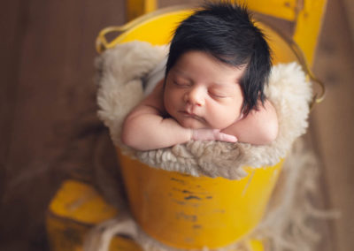 newborn baby boy - yellow bucket