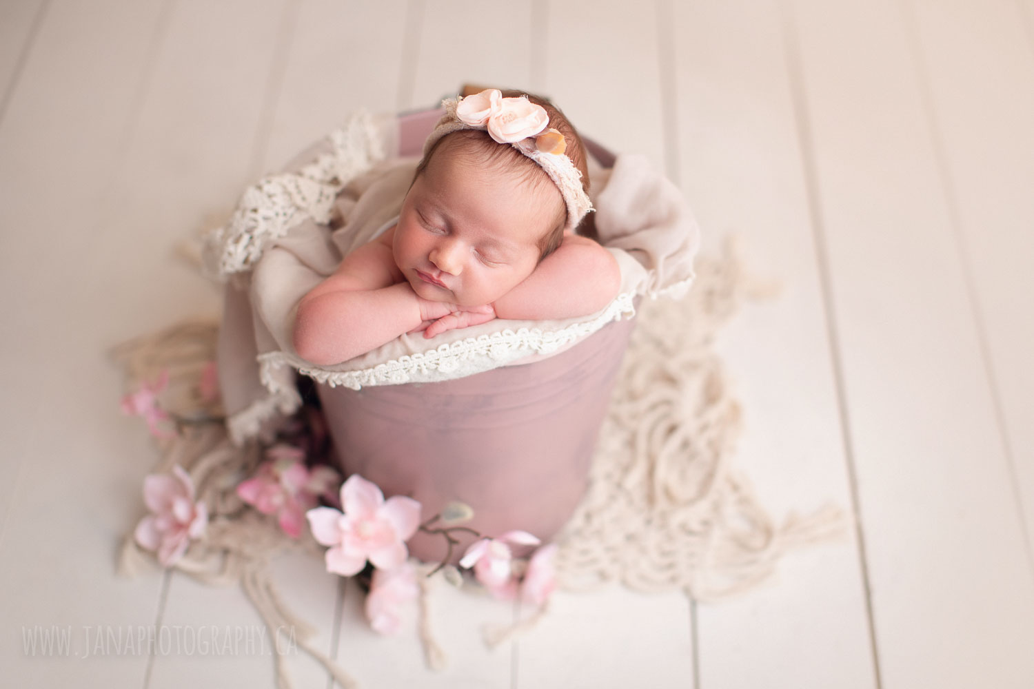 newborn baby girl in a pink bucket - vancouver - jana photography studio