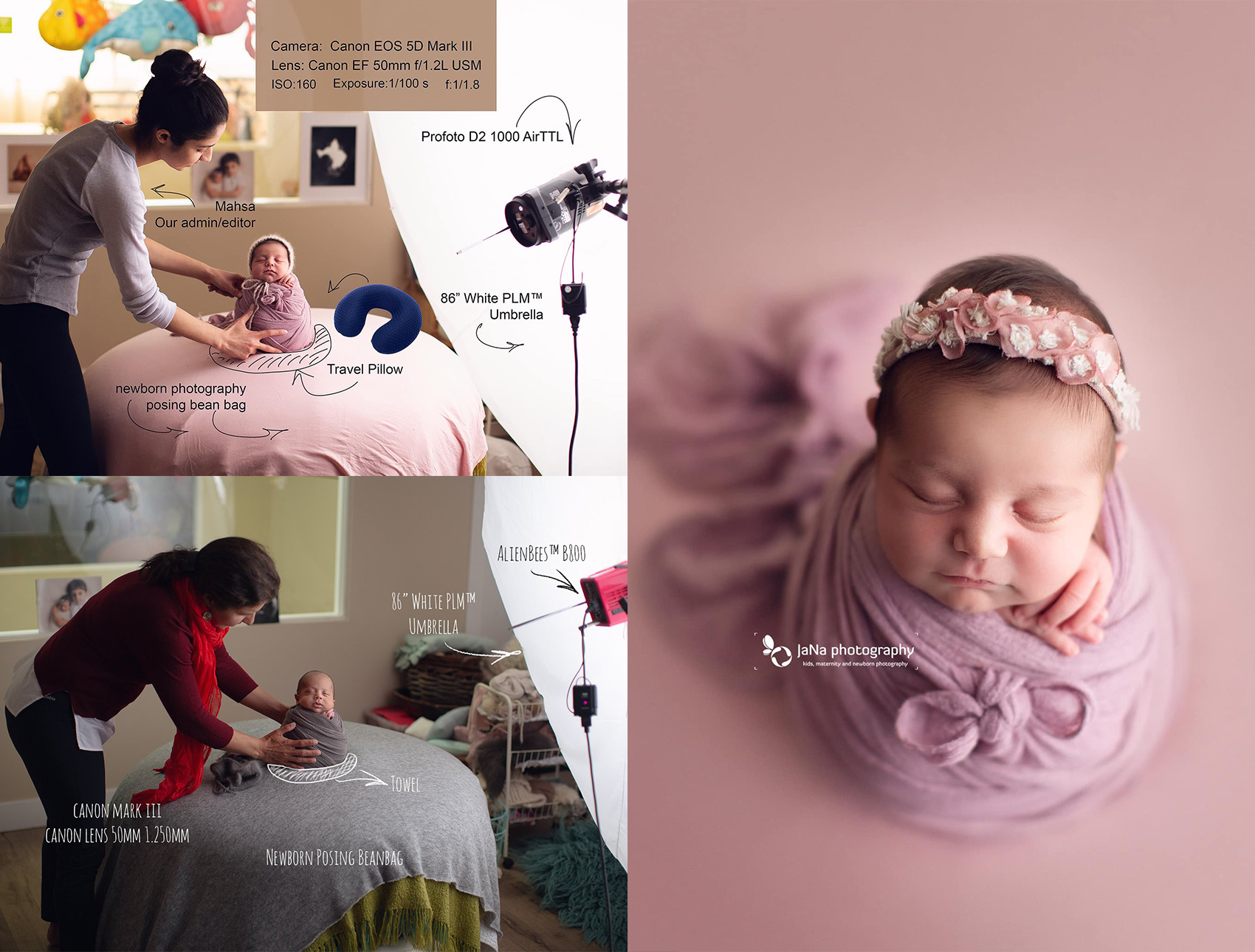 studio light-newborn photography backstage