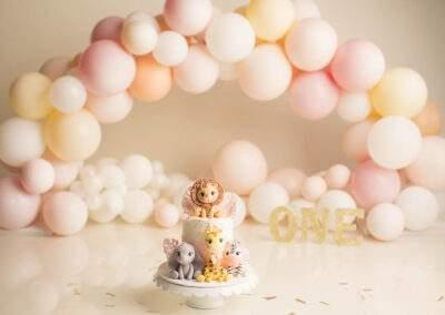 pink white pastel colour balloons cake smash setup with safari cake for girls