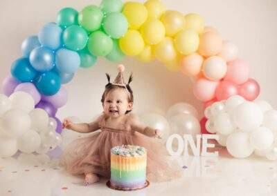 unicorn rainbow theme cake smash background for girls
