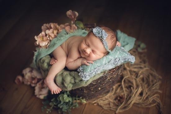 newborn photography baby girl smile